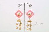 SE090 Hand Wrapped Round Shell Pearl  and Shell Dangle Earrings