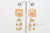 SE091 Hand Wrapped Champagne Shell Pearl Dangle Earrings with Shell beads