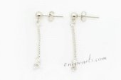 sem012 wholesale 925silver 2mm Ball dangle Earrings fitting with sterling studs