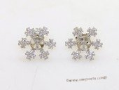 sem133 Wholesale Sterling Silver  Snow Flower Design Ear Stud Mouning with Zircon Beads