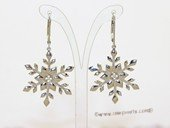 sem135 Wholesale Sterling Silver  Snow Flower Design Earring Hoop Mounting