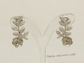 sem145  Sterling silver Pierce ear stud mounting in Leaf Sharp