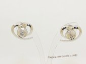 sem155  Sterling silver Pierce ear stud mounting in Heart Shape