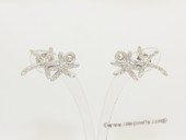 sem158 Sterling Silver Asteroidea Design Ear Stud Mouning with Zircon Beads