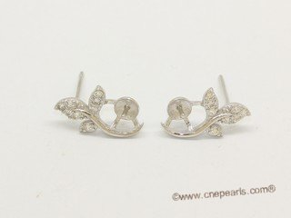 sem159 Sterling Silver Leaf Design Ear Stud Mouning with Zircon Beads