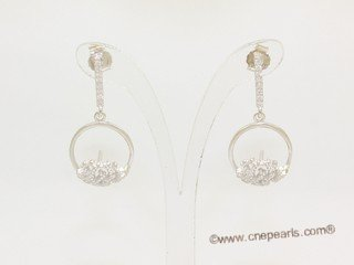 sem160  Sterling silver Pierce ear stud mounting with zircon bead