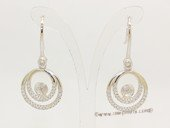 sem164  Sterling silver  circle design earring hopp mounting