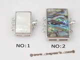 shc001 wholesale Striple strand square  abalone shell push-in clasp in Silver plated