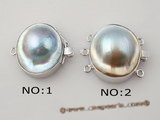shc008 sterling silver mabe pearl calsp with pearl inside
