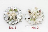 Shc085 Three rows Carve Flower Mother of Pearl Shell Clasp with Pearl beads