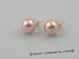 shpe004 10mm pink round shell pearl sterling earrings wholesale