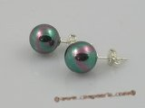 shpe005 10mm black round shell pearl sterling earrings in wholesale