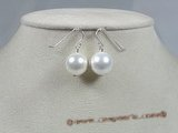shpe008 10mm white round shell pearl sterling wire dangle earrings