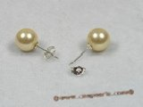 shpe012 sterling siver yellow south sea shell pearl studs earrings