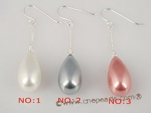 shpe024 Wholesale 925silver dangle earring hook dropping 10*18mm oval shell pearl