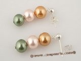 shpe033 Wholesale multicolor shell pearl dropping earrings with 925silver ear hook