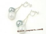 shpe038 Sterling dangle earring dangling 10*14mm tear-drop shell pearl