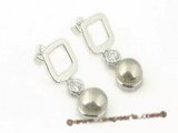 shpe044 wholesale sterling square studs earring with 8mm bread shell pearl