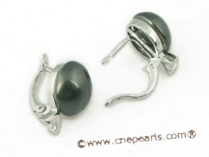 shpe046 sterling silver 12mm black bread shell pearl clip earrings