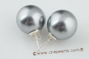 shpe063 sterling siver 14mm large round shell pearl stud earrings in wholesale
