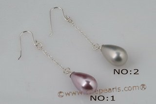 shpe065 Sterling silver 10*18mm tear drop shell pearl dangle earring in purple & grey