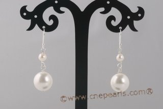 shpe070 Sterling Silver Potato pearl and Shell Pearl Dangle Earrings