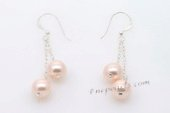shpe072 Stylish 8mm Pink Color Round Shell Pearl Dangle Hook Earrings