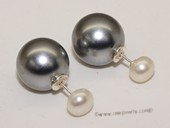 Shpe077  Large 14mm  sea shell pearl earring stud with 7-7.5mm  bread pearl