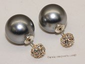 Shpe078 Siver toned  earring stud with  large 14mm  sea shell pearl
