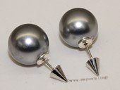 Shpe079 Large 14mm  sea shell pearl bead&Siver toned  cone piercing earrings