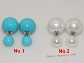 shpe082 Sea Shell Pearl Earring Two Shell Pearls Sterling Silver  Stud