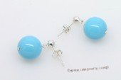 shpe084 Simple 12mm Round Blue Shell Pearl Dangle Stud Earrings