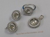 sms026 wholesale sterling silver pearl jewelry mounting set with zircon