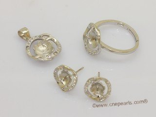 sms081 wholesale fashion sterling silver pearl mountings Jewelry set