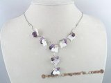 SN001 shell leaf beads necklace with purple crystal and 4-5mm pink pearl