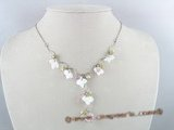 SN002 shell leaf beads necklace with pink crystal and 4-5mm pink pearl