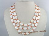 SN008 Triple strands oval white shell  beads necklace