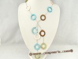 sn014 Modern colorful Circles shell silver plated Y style Necklace