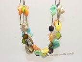 sn037  Colorful four strand coin shape and baroque shape shell beads  Necklace
