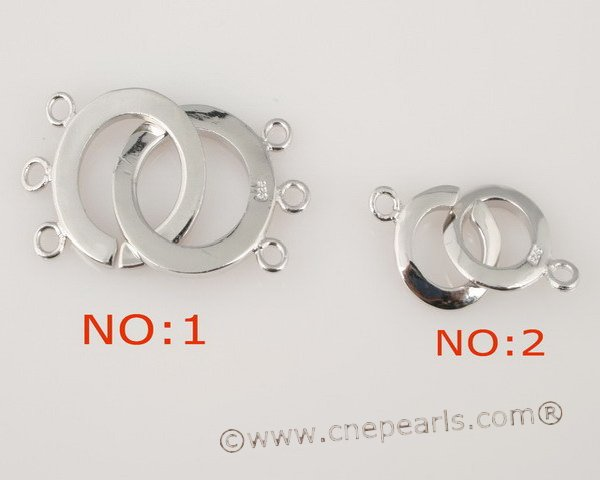 snc015 wholesale 952silver double rings necklace clasps in low price