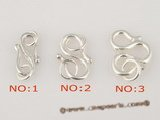 snc059 Wholesale sterling silver hook jewerly clasp with S shape design