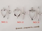 snc080 Wholesale Sterling silver toggle necklace clasp in heart shape
