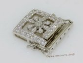 Snc149 Fashion Sterling Silver Pubsh-in Box Clasp with Zircon Beads