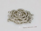 Snc152 Flower Design Sterling Silver Push-in  Jewelry Findings Clasp for Necklace Bracelet