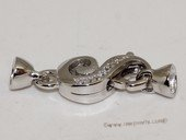 Snc178 Simple shiny sterling silver clasp with zircon