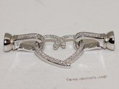 Snc179 Sweet Heart Sterling Silver Jewelry Clasp with Zircon Bead