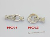 Snc206  Double rings necklace clasp in 925 sterling silver with zircon