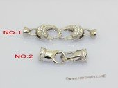 snc217 Sterling Silver Double Lobster Style Clasp with Zircon Beads
