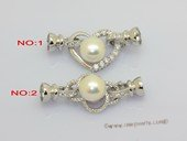 Snc220 Large Size Sterling Silver Heart  Or Flower Design Clasp with Freshwater Pearl