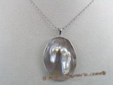 sp023 30*50mm oval oyster shell pendant with pearl inside